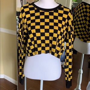 Forever 21 Long Sleeve Checkered Crop Top